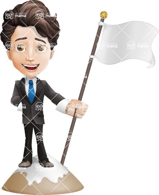 Little Boy Businessman Cartoon Vector Character AKA David - On Top