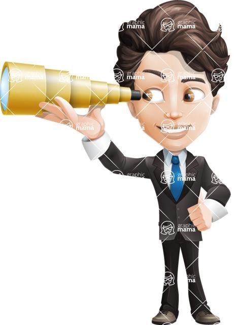 Little Boy Businessman Cartoon Vector Character AKA David - Telescope