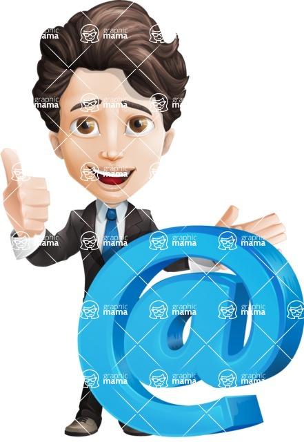 Little Boy Businessman Cartoon Vector Character AKA David - Email