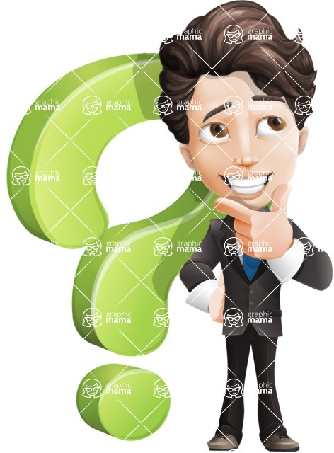 Little Boy Businessman Cartoon Vector Character AKA David - Question