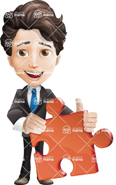 Little Boy Businessman Cartoon Vector Character AKA David - Puzzle
