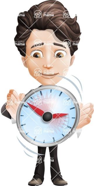 Little Boy Businessman Cartoon Vector Character AKA David - Time is Yours
