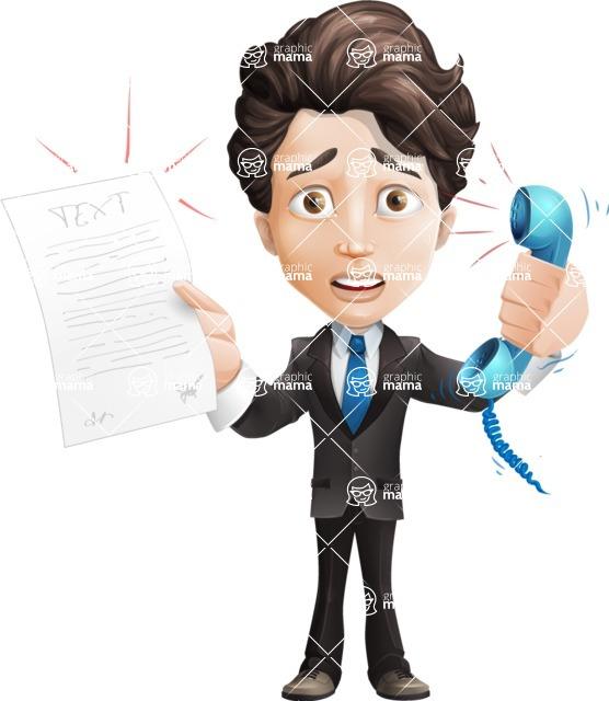 Little Boy Businessman Cartoon Vector Character AKA David - Office Fever