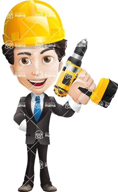 Little Boy Businessman Cartoon Vector Character AKA David - Under Construction2
