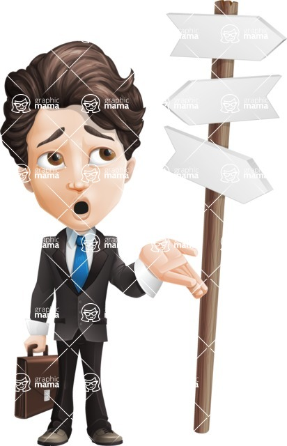 Little Boy Businessman Cartoon Vector Character AKA David - Crossroad