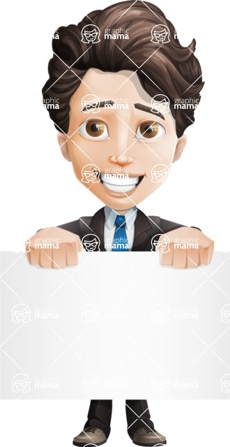 Little Boy Businessman Cartoon Vector Character AKA David - Sign2