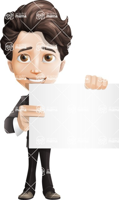 Little Boy Businessman Cartoon Vector Character AKA David - Sign3
