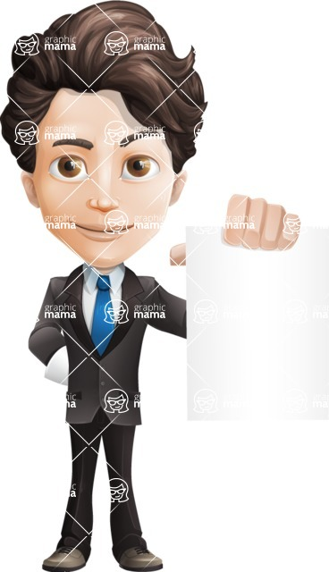 Little Boy Businessman Cartoon Vector Character AKA David - Sign4