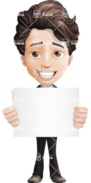 Little Boy Businessman Cartoon Vector Character AKA David - Sign5