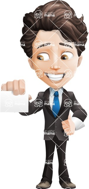 Little Boy Businessman Cartoon Vector Character AKA David - Sign6