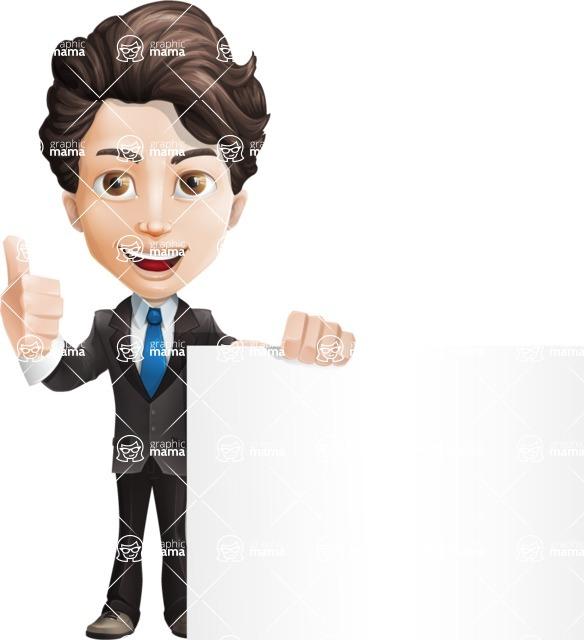 Little Boy Businessman Cartoon Vector Character AKA David - Sign7