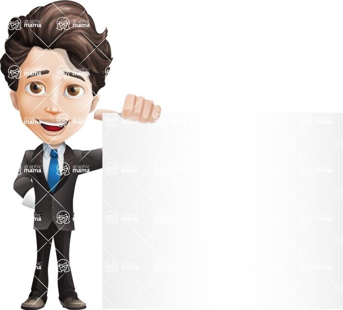 Little Boy Businessman Cartoon Vector Character AKA David - Sign8