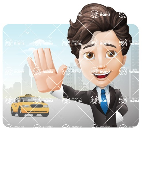 Little Boy Businessman Cartoon Vector Character AKA David - Shape1