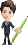 Little Boy Businessman Cartoon Vector Character AKA David - Pencil