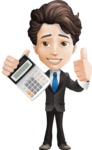 Little Boy Businessman Cartoon Vector Character AKA David - Calculator