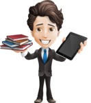 Little Boy Businessman Cartoon Vector Character AKA David - Book and iPad