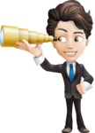 Little Boy Businessman Cartoon Vector Character AKA David - Telescope