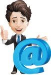 Little Boy Businessman Cartoon Vector Character AKA David - Email