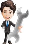 Little Boy Businessman Cartoon Vector Character AKA David - Repair