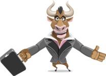 Bull Businessman Cartoon Vector Character AKA Barry the Bull - Briefcase 1