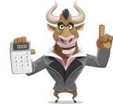 Bull Businessman Cartoon Vector Character AKA Barry the Bull - Calculator