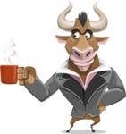 Bull Businessman Cartoon Vector Character AKA Barry the Bull - Coffee