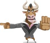 Bull Businessman Cartoon Vector Character AKA Barry the Bull - Direct Attention
