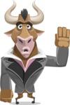 Bull Businessman Cartoon Vector Character AKA Barry the Bull - Goodbye