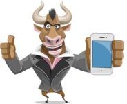 Bull Businessman Cartoon Vector Character AKA Barry the Bull - iPhone