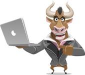 Bull Businessman Cartoon Vector Character AKA Barry the Bull - Laptop 1