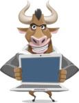 Bull Businessman Cartoon Vector Character AKA Barry the Bull - Laptop 2