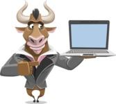 Bull Businessman Cartoon Vector Character AKA Barry the Bull - Laptop 3