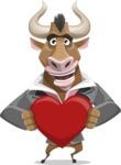 Bull Businessman Cartoon Vector Character AKA Barry the Bull - Love