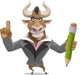 Bull Businessman Cartoon Vector Character AKA Barry the Bull - Pencil