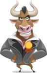 Bull Businessman Cartoon Vector Character AKA Barry the Bull - Ribbon