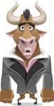 Bull Businessman Cartoon Vector Character AKA Barry the Bull - Sad