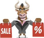 Bull Businessman Cartoon Vector Character AKA Barry the Bull - Sale 2