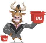 Bull Businessman Cartoon Vector Character AKA Barry the Bull - Sale