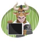 Bull Businessman Cartoon Vector Character AKA Barry the Bull - Shape 4