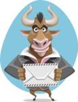 Bull Businessman Cartoon Vector Character AKA Barry the Bull - Shape 7