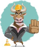 Bull Businessman Cartoon Vector Character AKA Barry the Bull - Shape 9