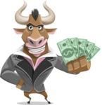 Bull Businessman Cartoon Vector Character AKA Barry the Bull - Show me the Money