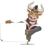 Bull Businessman Cartoon Vector Character AKA Barry the Bull - Sign 4