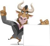 Bull Businessman Cartoon Vector Character AKA Barry the Bull - Sign 7