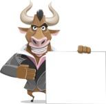 Bull Businessman Cartoon Vector Character AKA Barry the Bull - Sign 8