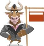 Bull Businessman Cartoon Vector Character AKA Barry the Bull - Sign 9