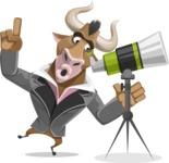 Bull Businessman Cartoon Vector Character AKA Barry the Bull - Telescope