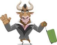 Bull Businessman Cartoon Vector Character AKA Barry the Bull - Travel 1