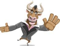 Bull Businessman Cartoon Vector Character AKA Barry the Bull - Wave