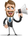 Elegant Businessman Cartoon Vector Character AKA Matt Charismatic - Loudspeaker